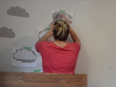 Modern Clouds DIY Stencilled Wall with paper!