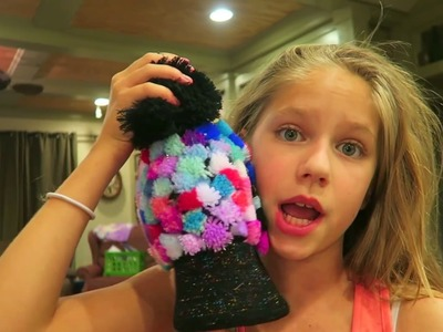 DIY 100 Pom Pom beanie challenge with Pom Pom WOW unboxing review! Easy crafts hopes heroes