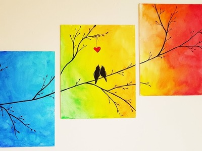 DIY Colorful Tree Canvas Painting ♥ Room Decor
