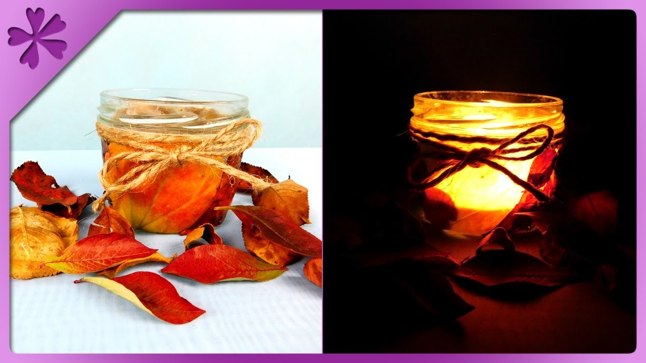 DIY Leaf candle jar, autumn decoration (ENG Subtitles) - Speed up #272