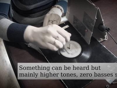 DIY vinyl player (gramophone) - cardboard and needle fast lifehack
