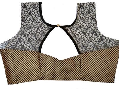 Designer Back Neck Blouse Pattern with Net (DIY)