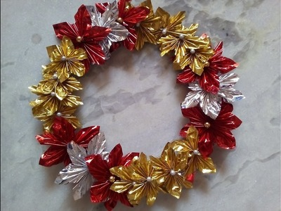DIY Christmas wreath using gift wrappers.simple and affordable decor.English subtitles