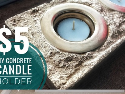 DIY |  Easy & Inexpensive | Gold Concrete Candle Holder