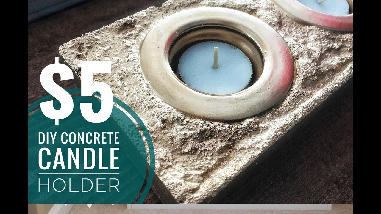 DIY    Easy & Inexpensive   Gold Concrete Candle Holder
