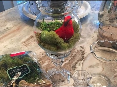 DIY Holiday Cardinal Terrariums - Dollar Store How-To