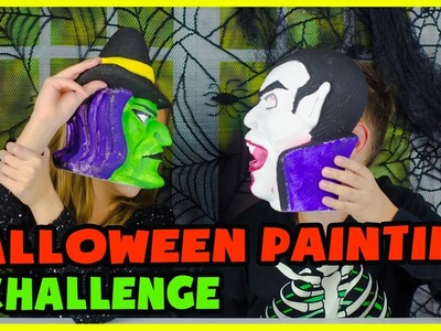 HALLOWEEN PAINTING CHALLENGE! DIY WITCH vs VAMPIRE