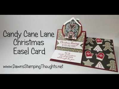 Christmas Easel card with Candy Cane Lane Designer Paper from Stampin'Up!