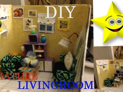 DIY CUTE  MINIATURE ROOM BOX LIVING ROOM. PART 2