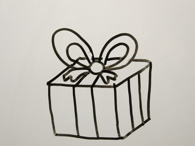 DIY Learn How to Draw a Christmas Gift. Easy Drawings for Kids.