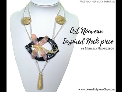 Make yourself a beautiful faux Art Nouveau polymer clay necklace