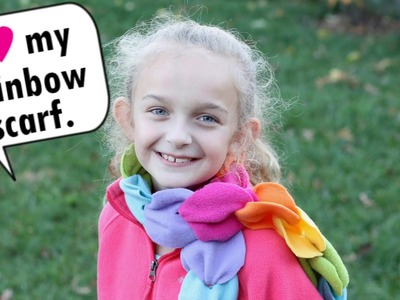No-sew rainbow fleece scarf