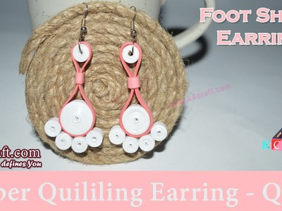 DIY Craft Ideas-How to make Beautiful Quilling 'Feet Shape' Earring White & Pink -Paper Art Quilling