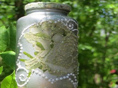 DIY Decoupaged White Rose Tea Jar