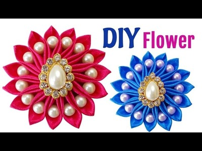 DIY for Girls : How to Make an Easy DIY Kanzashi Satin Ribbon Flower with Beads | Hair Accessories