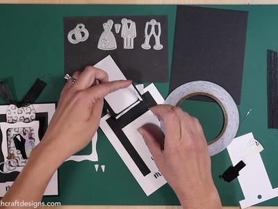 Elizabeth Craft Designs Mr  & Mrs  Hanging Charm Pull Tab Wedding Card