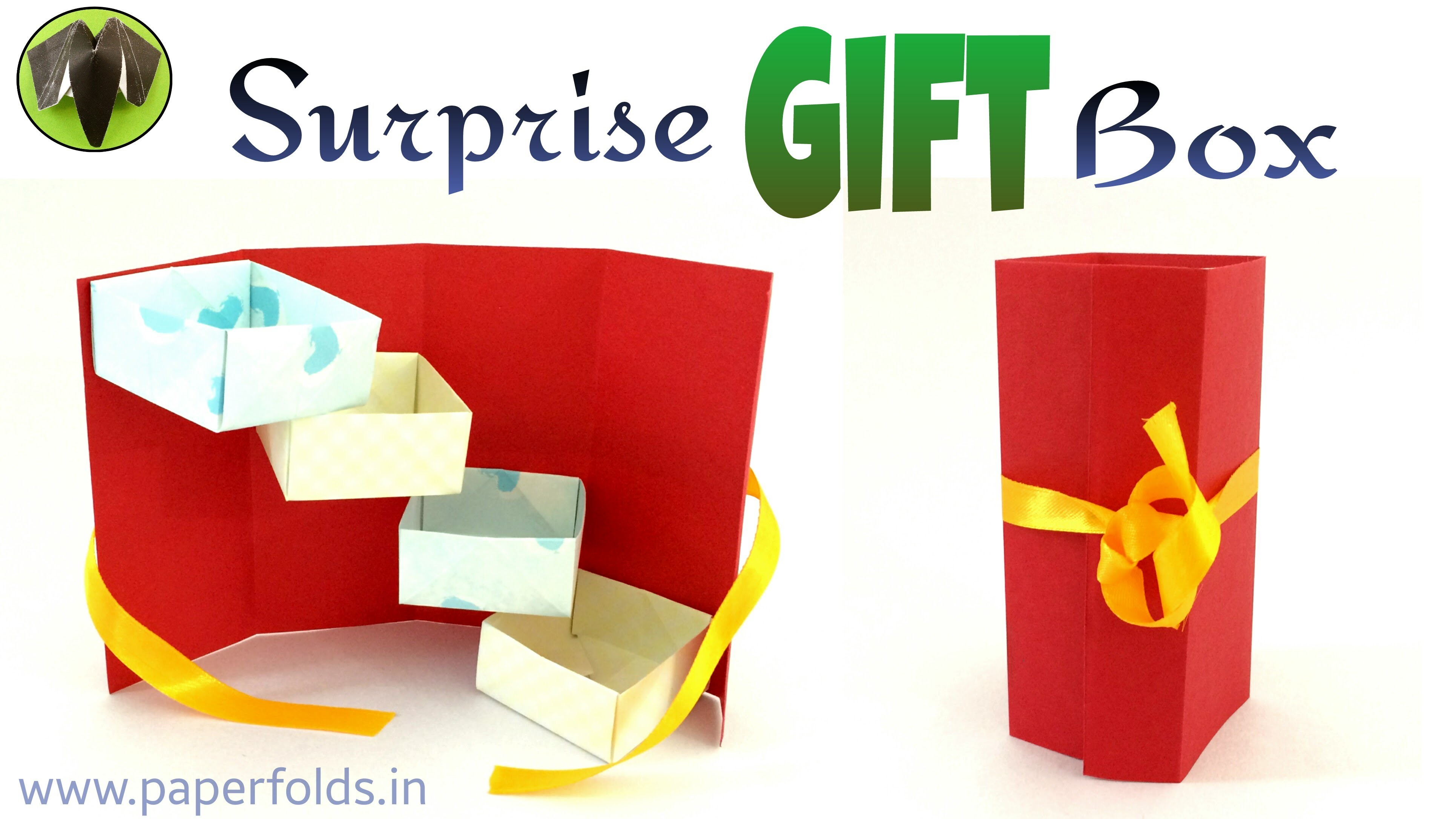 How to make a paper surprise tower gift box useful for Useful gifts to make