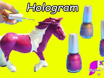 Pink Rainbow Hologram Nail Polish Custom Schleich Mare Horse Painting Craft Video