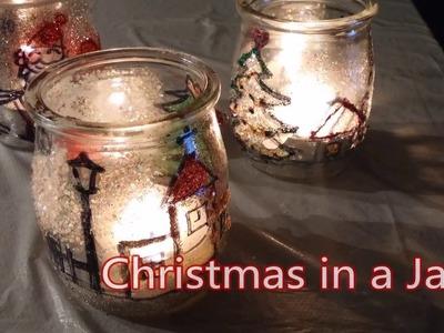Christmas in a jar (DIY candle light jar)