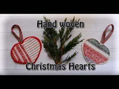 Hand woven Christmas hearts ornament tutorial - no sew!