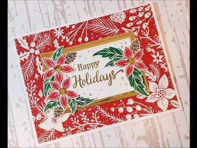 Nordic-ish Christmas Card with Hero Arts Stamps & Colored Pencils