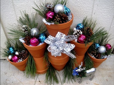 Outdoor Christmas Decorations using Terra Cotta Pots ~ Featuring Miriam Joy