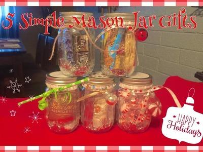 5 Simple DIY Christmas Mason Jar gift ideas perfect for Christmas gift giving!