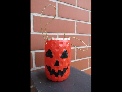 DIY Easy Trick or Treat Basket. How to Make a Trick or Treat Basket from  a Juice Bottle.