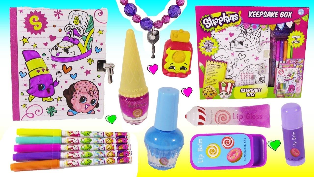 DIY SHOPKINS Secret Box! Stickers DIY Key Bracelet! Cute Squishy! Candy Lip Balm Nail SET! FUN