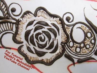 Innovative Gulf Style Rose Flower Henna Mehndi Design Tutorial for Back Hand