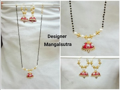 Silk Thread Necklace | Mangalsutra | Black beads chain Tutorial