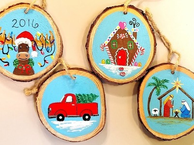 Wooden Christmas Ornaments Acrylic Painting Tutorial: Gingerbread House, Moose, Truck & Manger LIVE