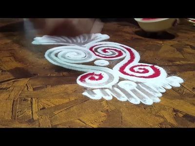 3-minutes DIY Laxmi Rangoli Design  | Diwali