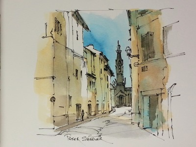 A demonstration of my Favorite urbansketching techniques. Pen and wash of an alley it Florence Italy