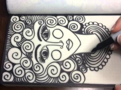 ASMR Doodle Face (ASMR, drawing, doodling, tingles, tangles, zentangle, no talking)