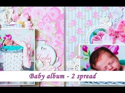 Baby scrapbook album 2nd spread - tutorial by Ola Khomenok