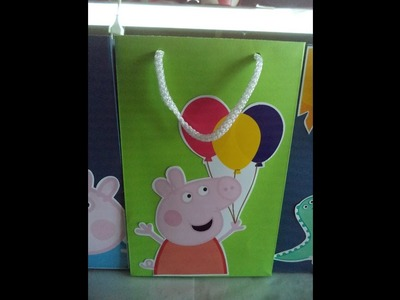 Bolsita cartulina Peppa Pig - HOW TO MAKE A CARDBOARD BAG - DIY