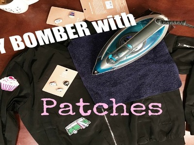 DIY: Black Bomber with Patches. No sewing necessary!
