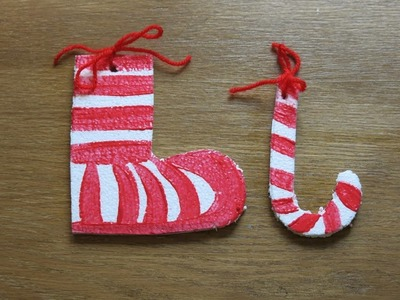 DIY Stockings and Christmas Candy Cane. How to Make Christmas Ornaments from Recycled Materials.
