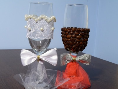 DIY Wedding glasses with coffee beans and pearls by CreativeMaryT