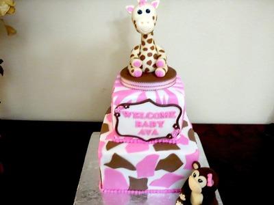 How to make a Giraffe & Monkey Fondant Topper Cake