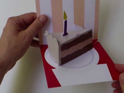 Instructions: Assemble-Yourself Birthday Cake Slice (0023) 3D pop-up card