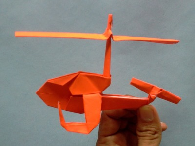 Origami. Helicopter of the paper. How to make origami helicopter