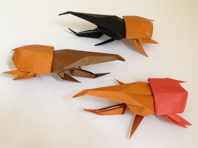 Origami Hercules Beetle(front(head)3D  instructions 折り紙 ヘラクレスオオカブト 立体頭前折り方