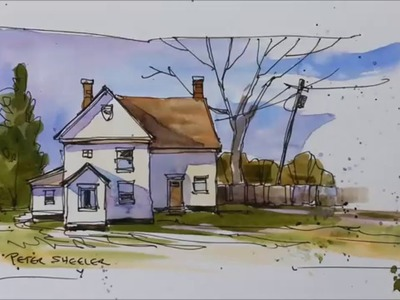 Pen and wash demonstration of a country farmhouse. Easy to follow and learn. With Peter Sheeler