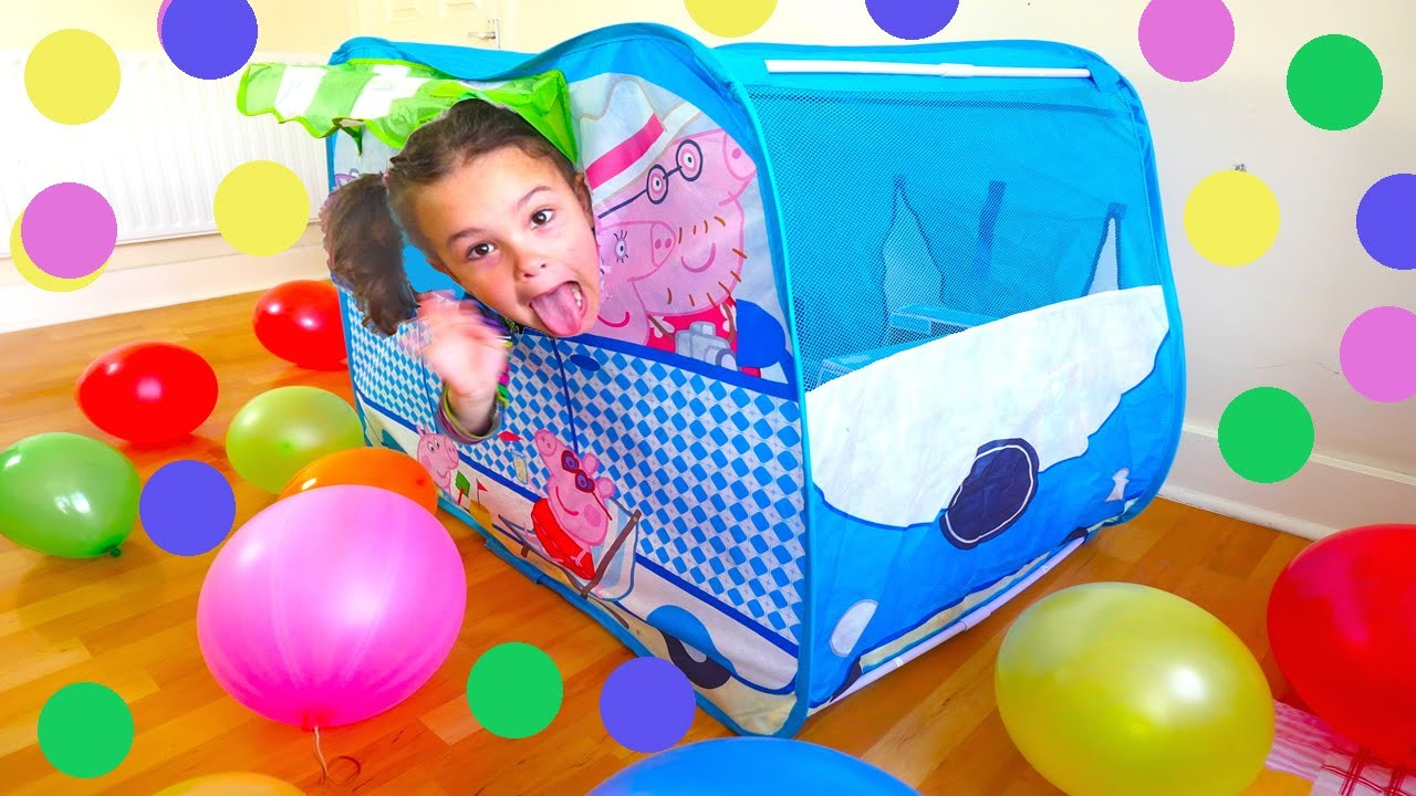 Peppa Pig Camper Van Huge Surprise Tent: Balloons, Peppa Toys and Paw Patrol, Baby Alive Toy Doll