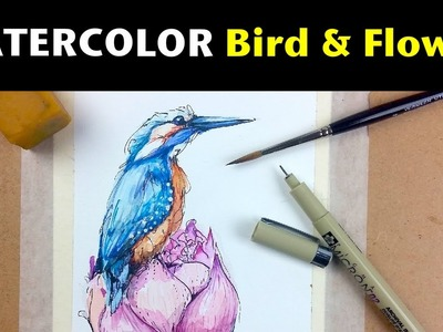 Watercolor & Ink Tutorials | How to Draw & Paint a Bird & Flower