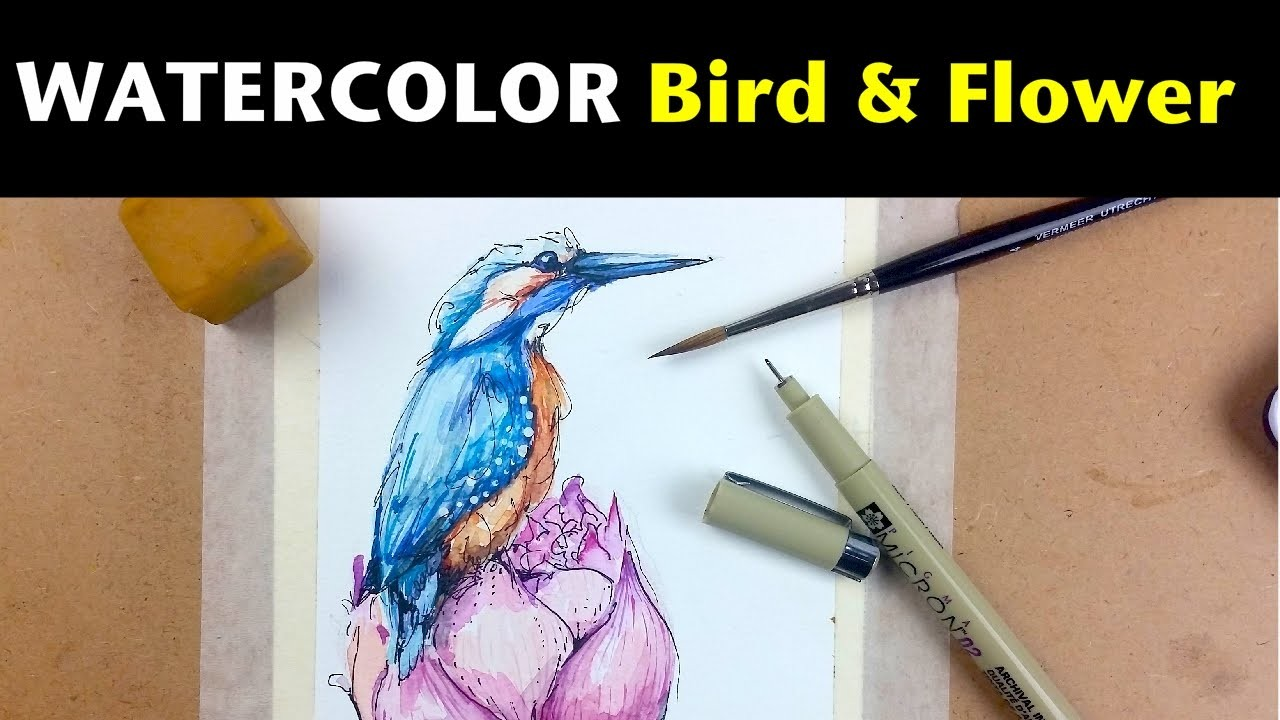 Watercolor & Ink Tutorials   How to Draw & Paint a Bird & Flower