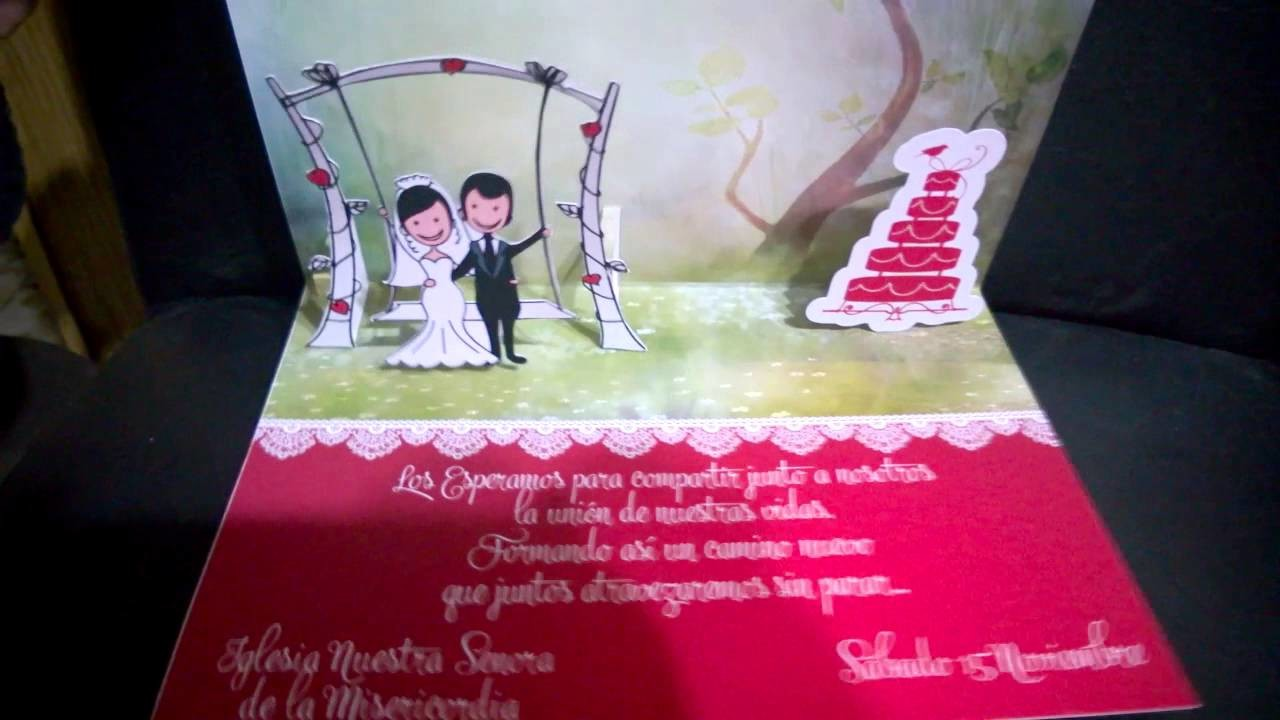 Wedding pop up card - tarjeta movil pop up
