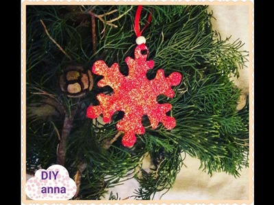 Christmas snowflakes decoration with glitter DIY ideas decorations crafts tutorial. URADI SAM